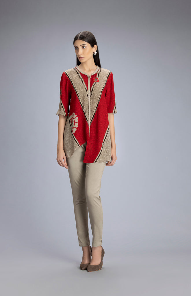 Tazara Beige Shirt in Georgette