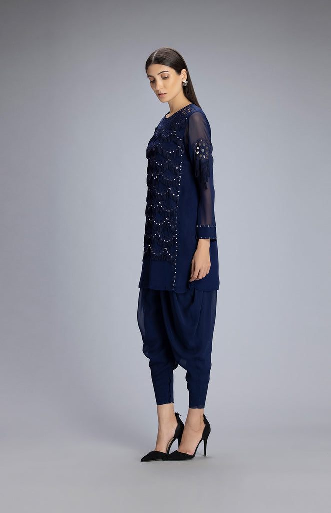 Navy Tunic with Dhoti Pants