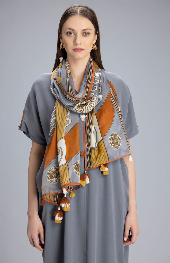 Yinhle Steel Grey Scarf in Silk