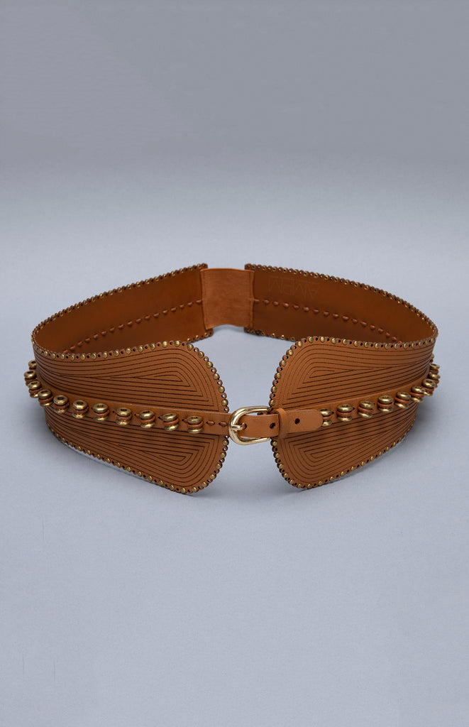 Ngozi Tan Belt in Fuax Leather