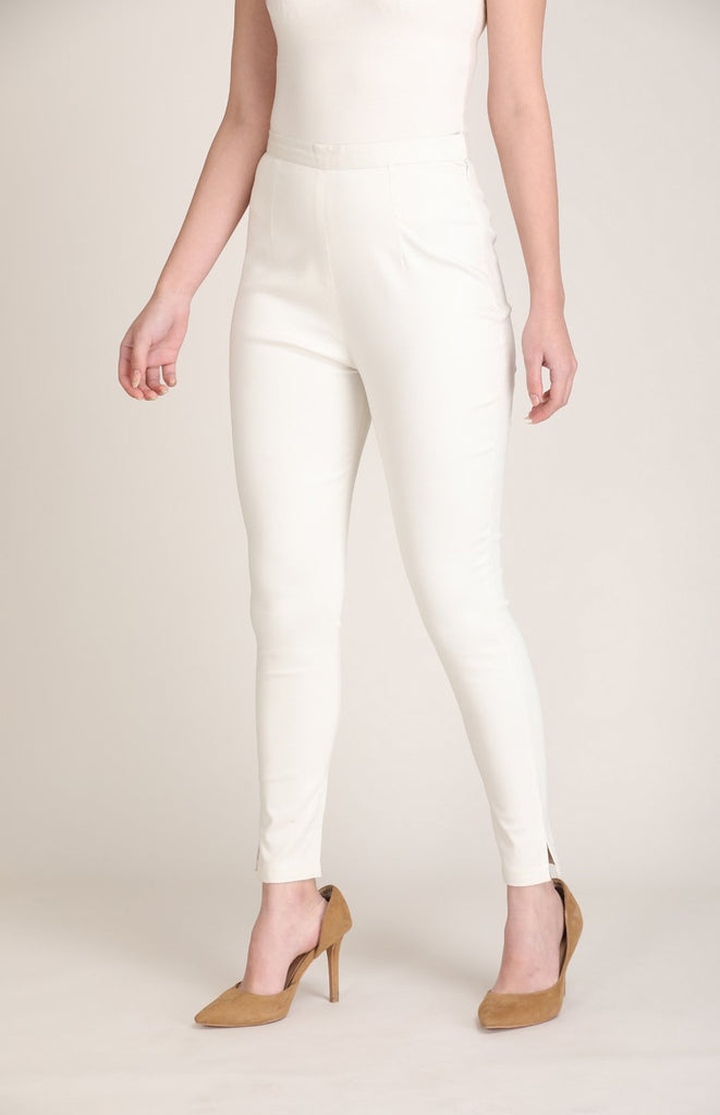 Ivory Fitted Pants in Satin Lycra