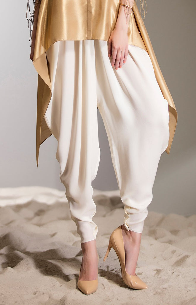 Ivory Pleated Dhoti in Heavy Georgette - 2717