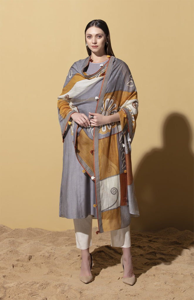 Amara Steel Grey Suit Set in Chanderi