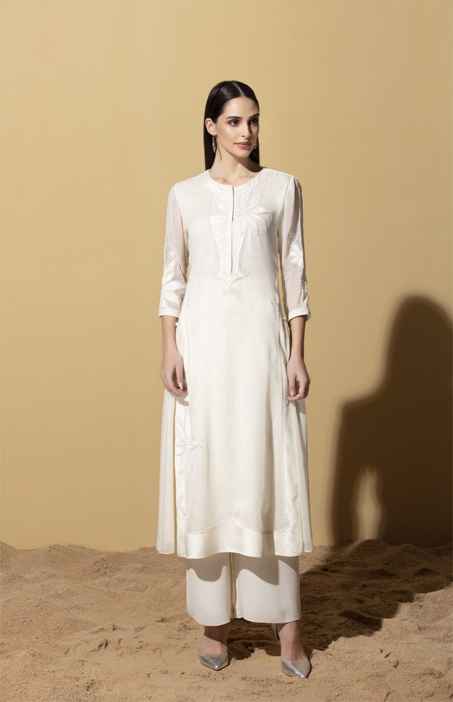 Wageza Ivory Tunic Set in Georgette