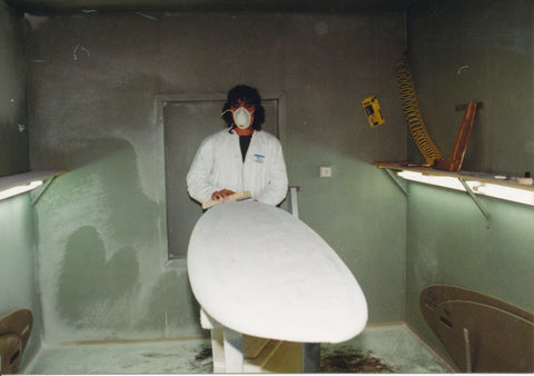 Jozef from CrazyFly making a windsurf board