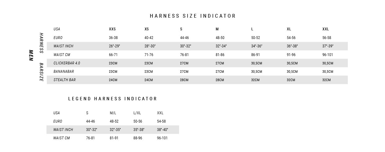 Mystic harness size guide