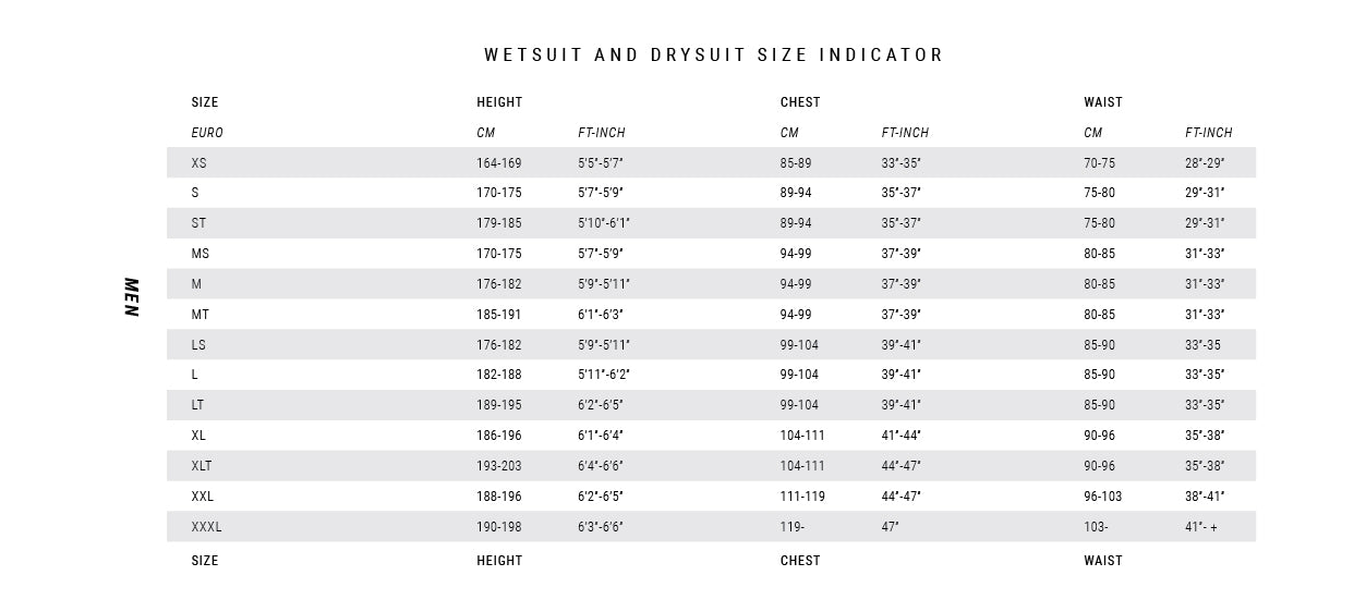 Mystic mens wetsuit size guide