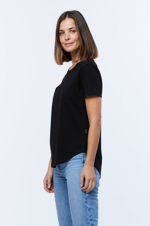 SADDLE TEE HEM BLACK