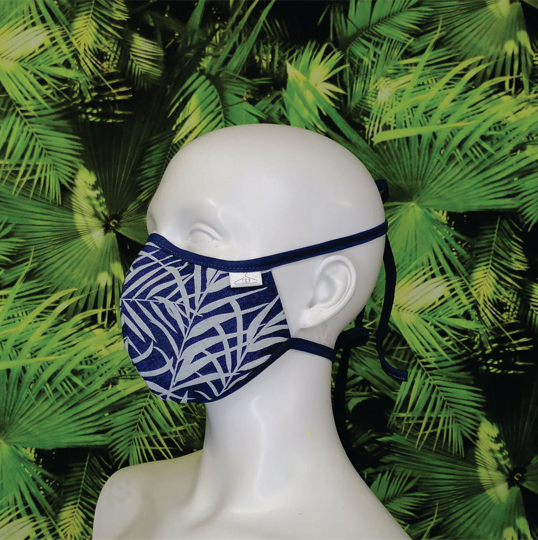 Denim Palm Leaf Print