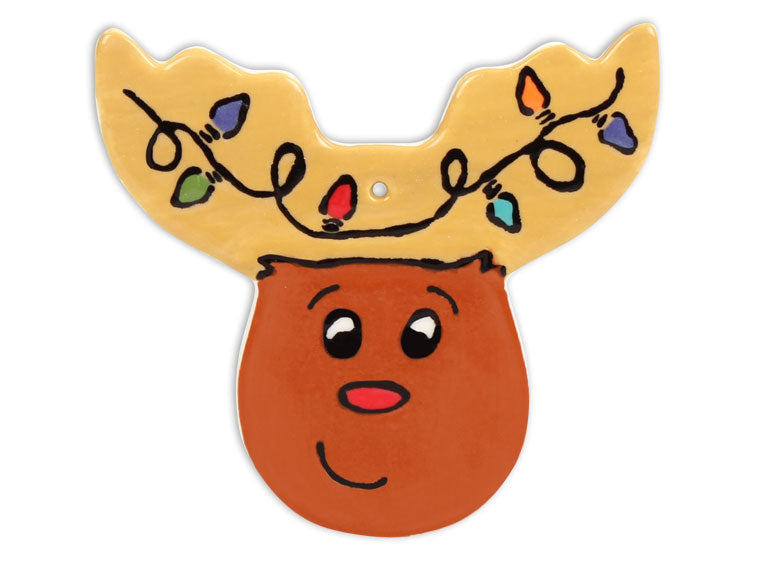 Hand Detailed Coloring Book Reindeer Head Party Ornament