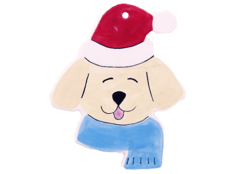 Hand Detailed Dog with Santa Hat Party Ornament