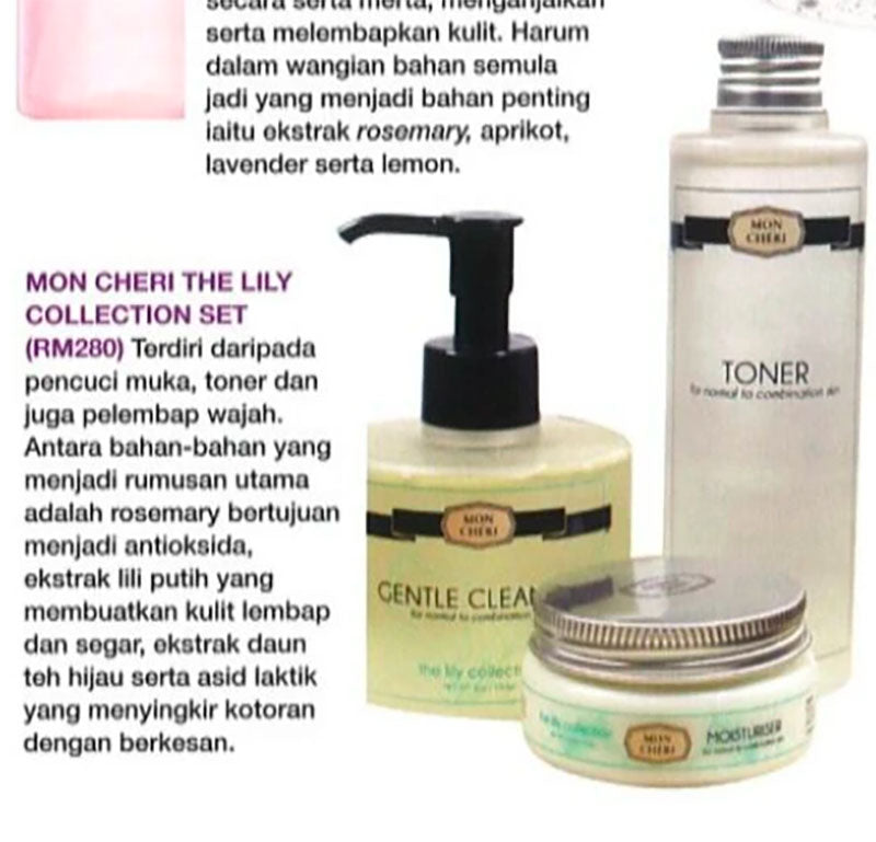 MON CHERI THE LILY COLLECTION SET – RM 280 (EH!) - 1 January 2015