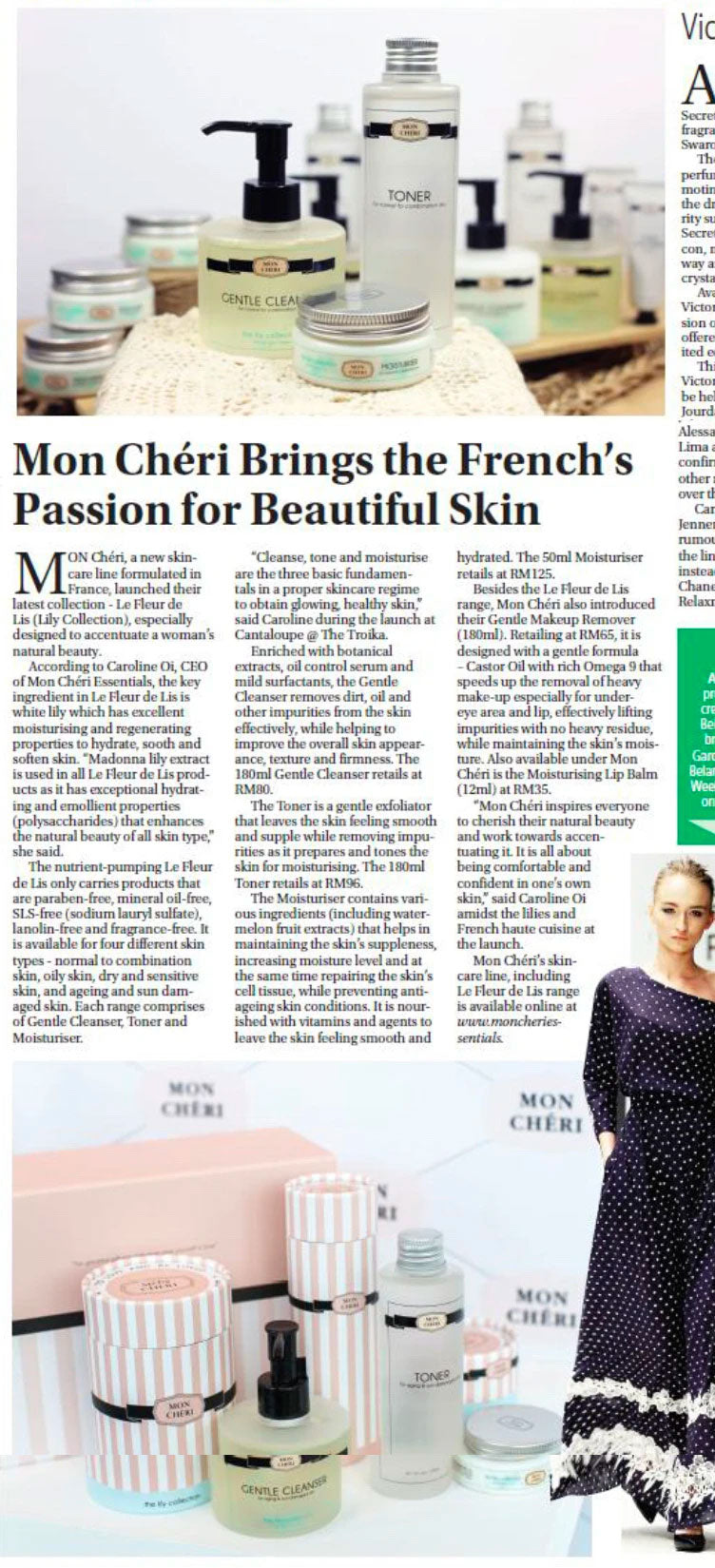 Mon Chéri Brings the French's Passion for Beautiful Skin (New Sarawak Tribune, Style) - 19 November 2014