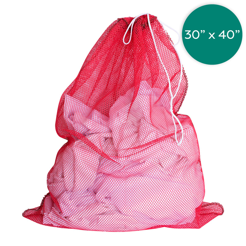 30X40 Inch Red Net Laundry Bags with Draw Cords