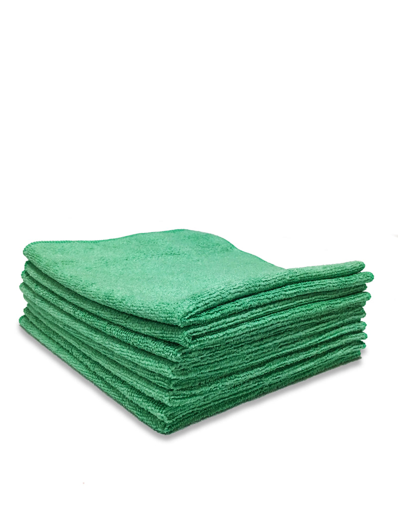 16X16 12pk Green Microfiber Auto Cloth