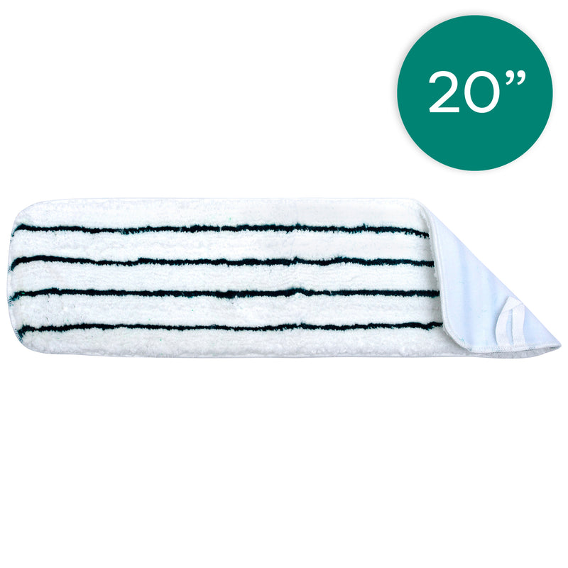 20 Inch White Mop Pad with Green Stripe
