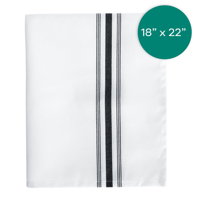 18X22 inch White Bistro Napkin with Black Stripe
