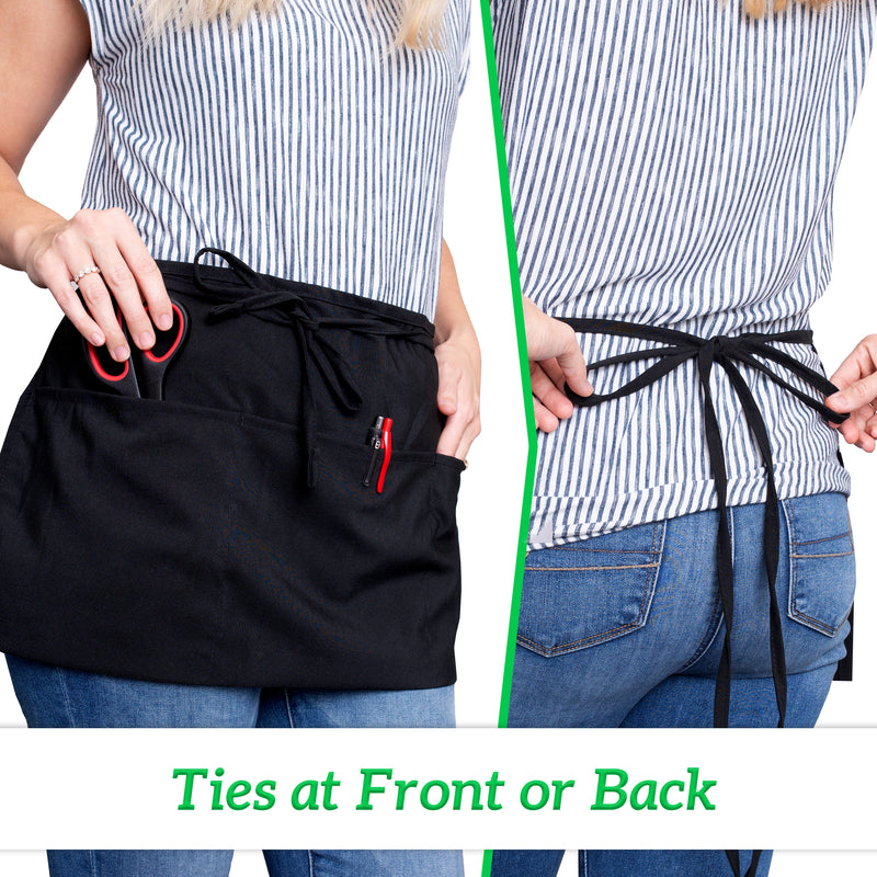 Black Spun Waist Aprons 3 Pocket