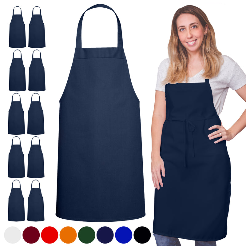 Navy Spun Apron No Pocket