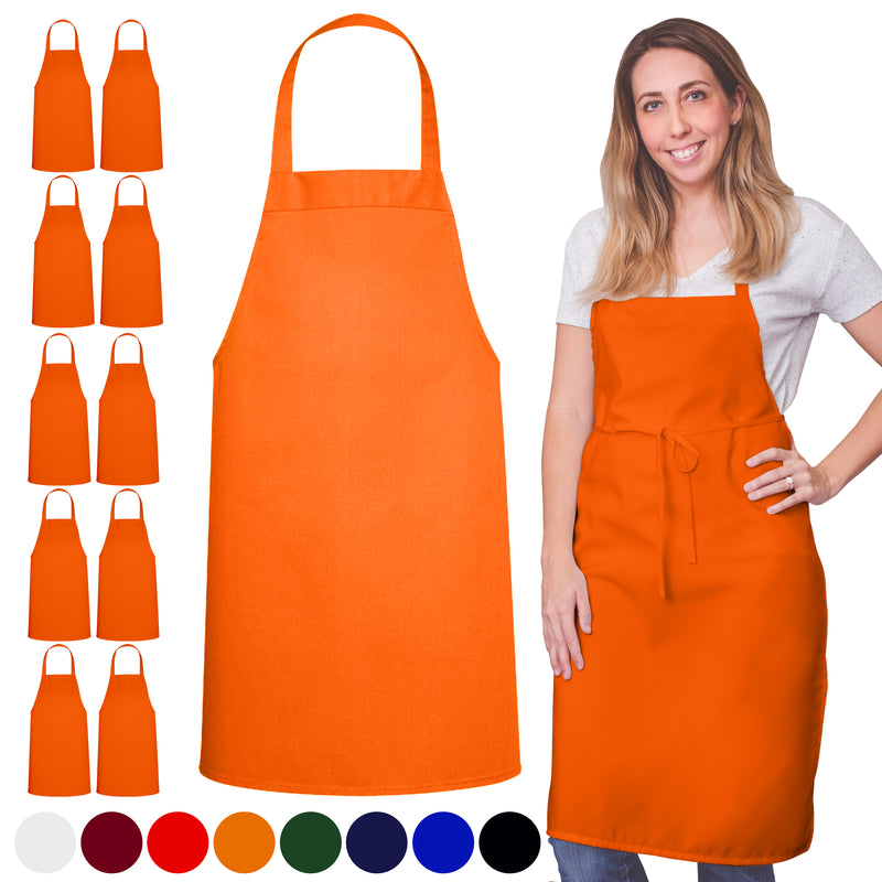 Orange Spun Poly Apron No Pocket