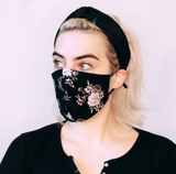 100% Silk Lined Mask - Black Floral