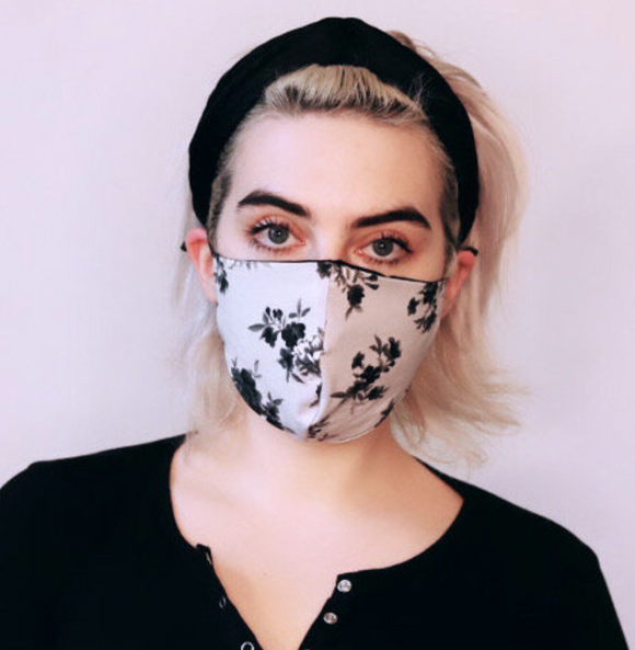 100% Silk Lined Mask - Gray Floral