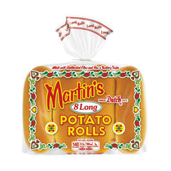 8 Martin's Long Potato Hot Dog Rolls