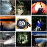 CMC, 100W LED Portable Spotlight 6000lm Super Bright Work Light Rechargeable for Outdoor Camping Lampe Flashlight 18650