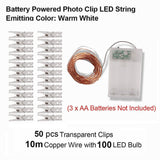 CMC, 10M 100 LED Fairy Lights Battery Photo Clip Copper Wire String Lights USB Garland LED Lamp Wedding Christmas Outdoor Decorative