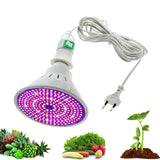 CMC, 220V Phytolamp E26 E27 LED Bulbs for Plant Growth Full Spectrum Grow Bulb with 4M 8M Wire Switch EU Plug for Indoor Flower Seedlings