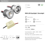 CMC, 1W LED Downlight, AC85-277V Spot Ceiling Lamp 25mm Cutout Recessed Cabinet Light 60D 120D Spotlight 12pcs/lot