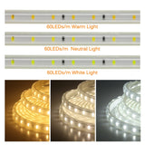 CMC, 220V LED Strip Light 60LEDs/M 120LEDs/M Flexible Soft Lighting Diode Tape High Safety Indoor Outdoor Waterproof LED Strip 2835