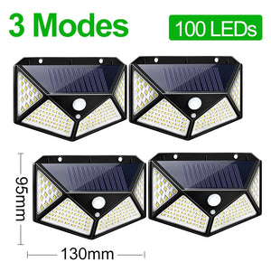 CMC, 3 Modes LED Solar Light Outdoor Solar Lamp PIR Motion Sensor Wall Light Waterproof Solar Powered Sunlight for Garden Decoration