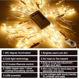 CMC, 3m*3m 300 LED String Lights USB Power 8 Modes Remote Control Curtain Fairy Lights Christmas Garland Lights Party Garden Decor