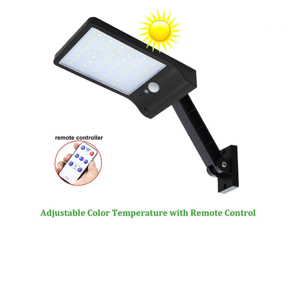 CMC, 48 LED Solar Light PIR Motion Sensor Lamp IP65 Waterproof Outdoor Garden Wall Gear Lock Remote Controller Rotate