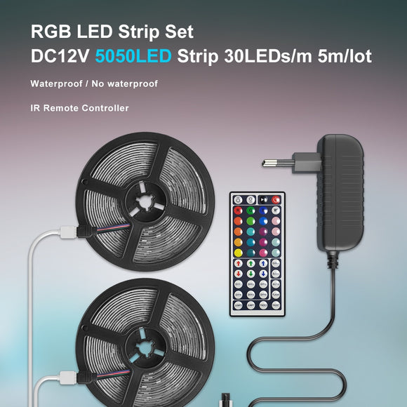 CMC, 5050 LED Strip RGB  5M RGB Color Changeable Flexible LED Light with Remote Controller 12V 3A Power Adapter