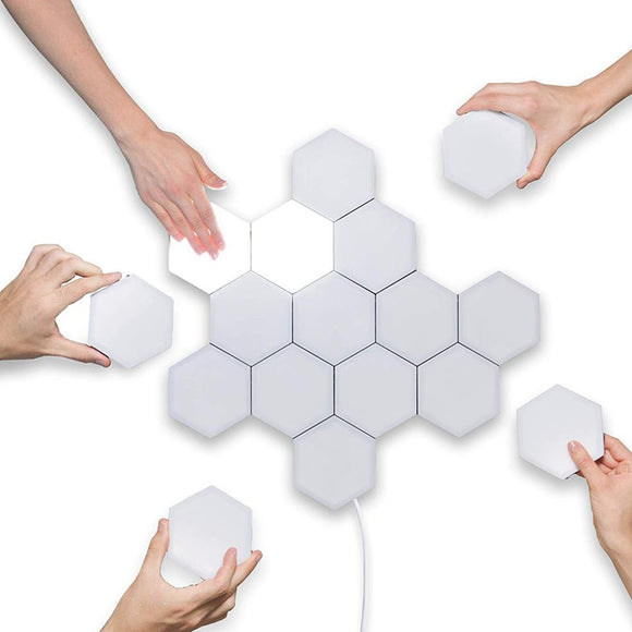 CMC, Colorful LED Quantum Light Touch Sensitive Modular Hexagon Wall Light Minimalist Custom Novelty Night Lamp Creative Decoration