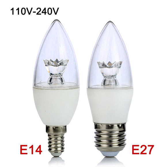 CMC, E26/E27 E14 LED Bulb 5W 110V 220V COB LED Candle Lamp Light C37 Chandelier Lighting Clear Crystal LED Lamp for Home Decoration