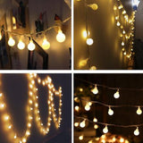 CMC, LED Fairy Lights Indoor 1.5M 3M 10M Garland Ball String Battery Power Festoon LED Lights Decoration for Wedding Party Lamp