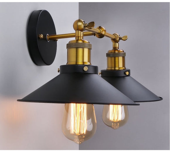 CMC, American Style Bedside Antique Wall Lamp Double Head E26 E27 Wandlamp Badroom Room Vanity Wall Lights Vintage Fashion Bar Lamps