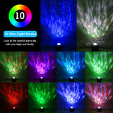 CMC, LED Star Sea Water Wave Projector Lamp 10 Light Modes Cosmos Bluetooth Music Player Remote Timer Night Light Decor Party Wedding