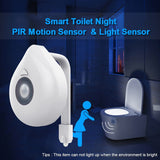 CMC, LED Toilet Seat Night Light Motion Sensor WC Light 8 Colors Changeable Lamp AAA Battery Powered Backlight for Toilet Bowl Child