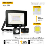 CMC, Motion Sensor LED Flood Light 220V 10W 30W 50W 100W 150W IP65 Outdoor Spotlight Wall Lamp Reflector Waterproof Floodlight