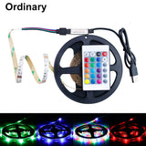 CMC, USB RGB LED Strip Light Waterproof SMD 2835 0.5M 1M 2M 3M 4M 5M 5 Volt RGBW Tape Diode 24Key Remote Control Full Set