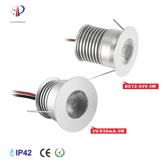 CMC, Super Bright 3W LED Spotlight with Cree Chip DC12V 24V 3V 30mm Cutout Recessed DownLight Cabinet Lighting 9pcs/lot