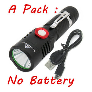 CMC, USB Charge XM-L2 Portable Mini LED Flashlight Bicycle Torch Light Lamp Lighting Lantern Use 18650 Battery with USB Cable