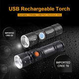 CMC, USB LED Flashlight High Power Rechargeable Torch 2000 Lumens Q5 XML T6 3-Modes Zoomable 16340 18650 Flash Light Lantern