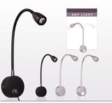 CMC, Wall Lamp Sconces Clamp Light 3W Bedroom Lamp Switch Silver Black Flexible Goose Neck Home Bedside Reading Lights