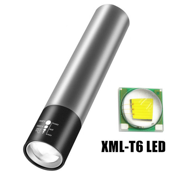CMC, USB Rechargeable with Built-in 18650 Battery Zoom Flashlight XML-T6 LED Torch Lantern Mini Flashlight Torch