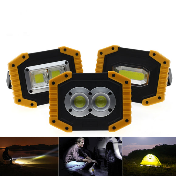 CMC, LED Portable Spotlight COB Flood Lights USB Rechargeable Flashlight Work Light Outdoor Portable Searchlight for Hunting Camping